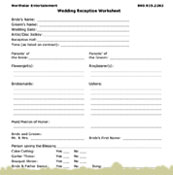 Printables Wedding Worksheet boston massachusetts wedding entertainment to better assist you weve created a reception worksheet highlighting on the special activities that may occur at your reception